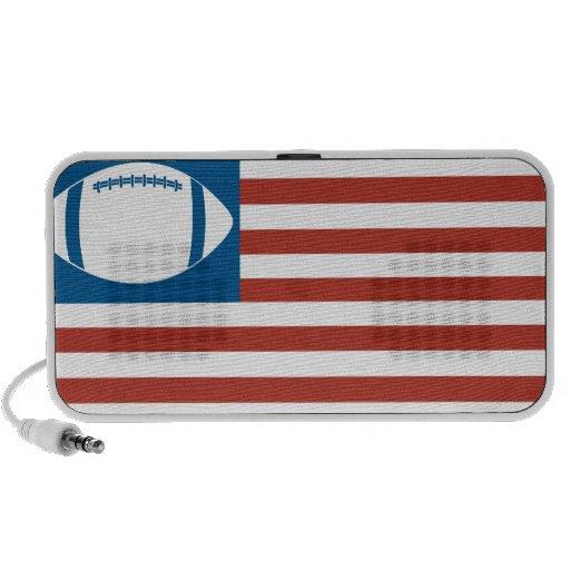 USA football red white blue flag Notebook Speaker