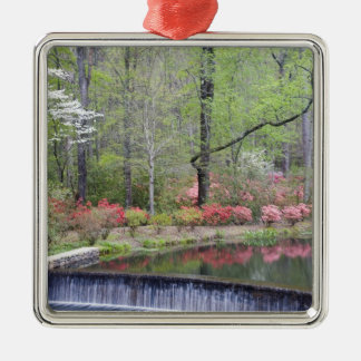 USA, Georgia, Pine Mountain. A small waterfall Silver-Colored Square Decoration