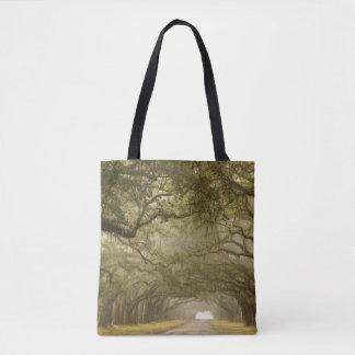 USA, Georgia, Savannah, An oak lined drive in Tote Bag