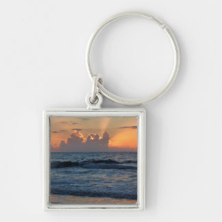 USA, Georgia, Tybee Island, Tybee Island Beach Silver-Colored Square Key Ring