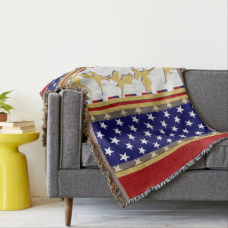 USA Gold Eagle Stars Red Throw Blanket