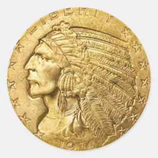 USA Gold Piece Round Sticker