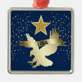 USA Gold Star Eagle Metal Ornament