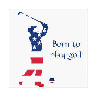 USA golf America flag golfer Canvas Print