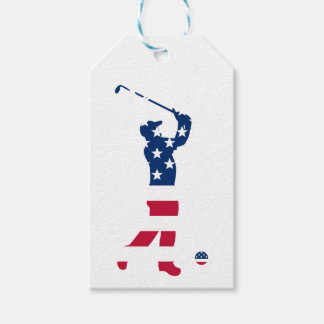USA golf America flag golfer Gift Tags