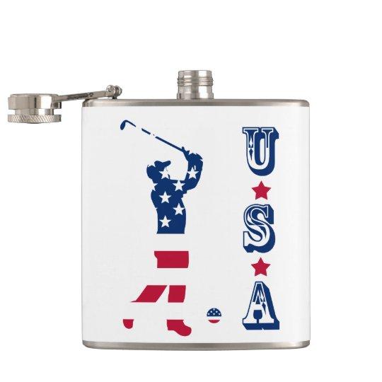 USA golf America flag golfer Hip Flask