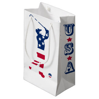 USA golf America flag golfer Small Gift Bag