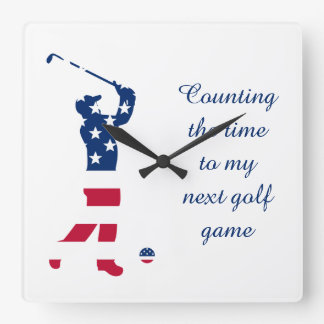 USA golf America flag golfer Square Wall Clock