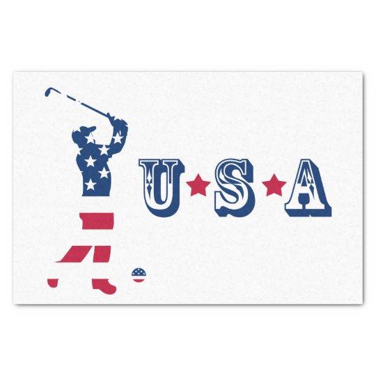 USA golf America flag golfer Tissue Paper