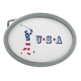 USA golf American flag golfer Belt Buckles