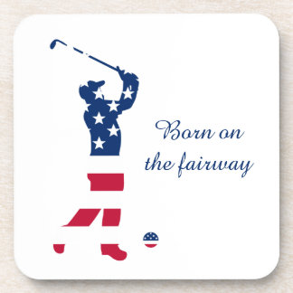 USA golf American flag golfer Coaster