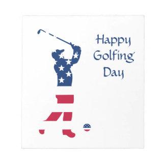 USA golf American flag golfer Notepad