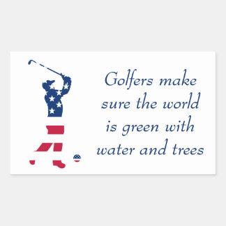 USA golf American flag golfer Rectangular Sticker