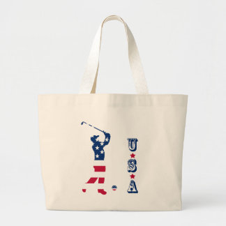 USA golf American golfer Large Tote Bag