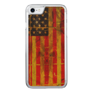 USA Grunge Flag iPhone 6 Slim Maple Wood Carved iPhone 7 Case