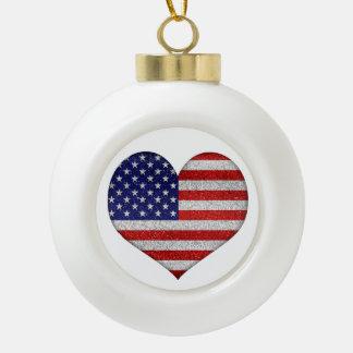Usa Grunge Heart Shape Flag Ceramic Ball Decoration