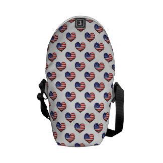 Usa Grunge Heart Shaped Flag Pattern Commuter Bag