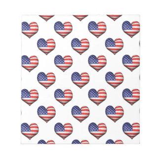 Usa Grunge Heart Shaped Flag Pattern Notepad