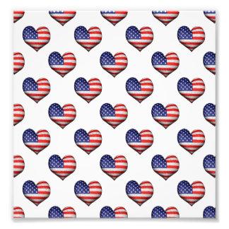 Usa Grunge Heart Shaped Flag Pattern Photo Print
