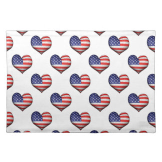 Usa Grunge Heart Shaped Flag Pattern Placemat