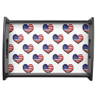 Usa Grunge Heart Shaped Flag Pattern Serving Tray