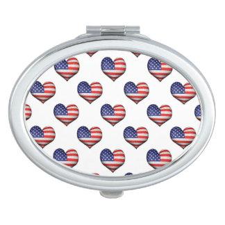 Usa Grunge Heart Shaped Flag Pattern Vanity Mirrors