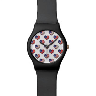Usa Grunge Heart Shaped Flag Pattern Watch