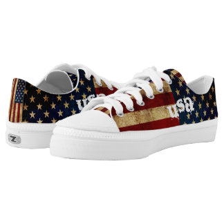 USA / Grunged Flag... Low Tops