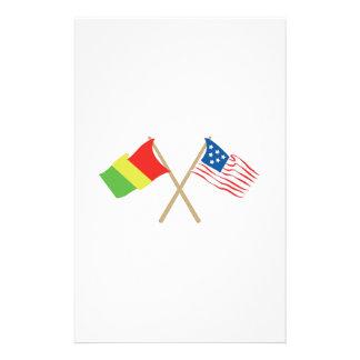 USA & Guinea Flags Stationery Design