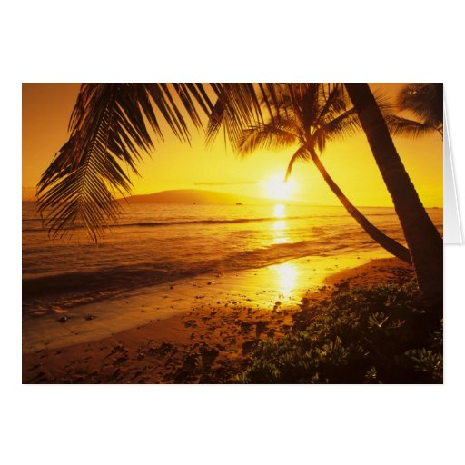 USA, Hawaii, Maui, Colorful sunset in a 2 Greeting Cards