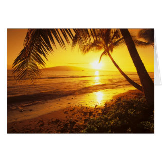 USA, Hawaii, Maui, Colorful sunset in a 2 Greeting Card