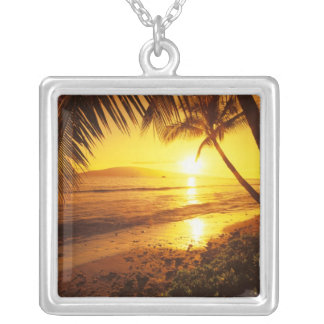 USA, Hawaii, Maui, Colorful sunset in a 2 Square Pendant Necklace