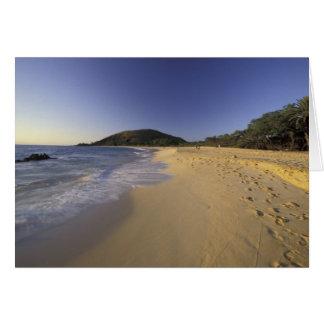 USA, Hawaii, Maui, Footprints in sand, Makena Card