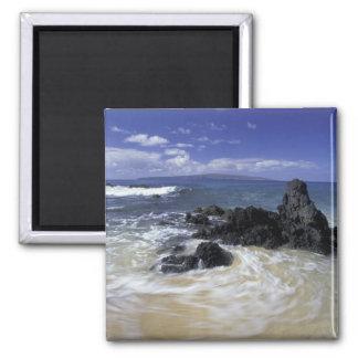 USA, Hawaii, Maui, Maui, Makena Beach, Surf on Square Magnet