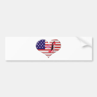 USA Heart Flag and Corkscrew Red Stiletto Shoe Bumper Stickers