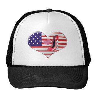 USA Heart Flag and Corkscrew Red Stiletto Shoe Cap