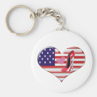 USA Heart Flag and Corkscrew Red Stiletto Shoe Key Chains