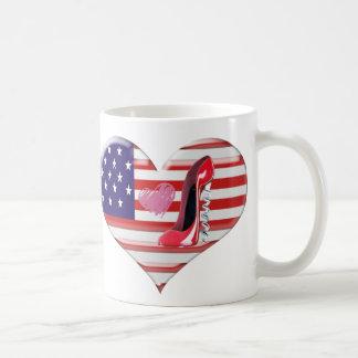 USA Heart Flag and Corkscrew Red Stiletto Shoe Coffee Mugs