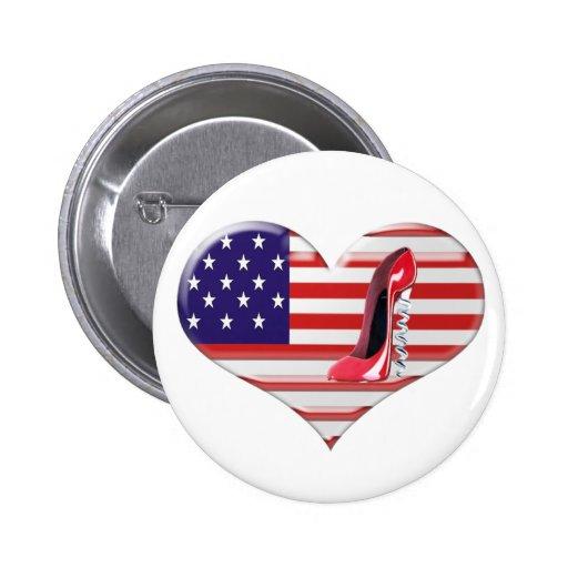 USA Heart Flag and Corkscrew Stiletto Shoe Pin