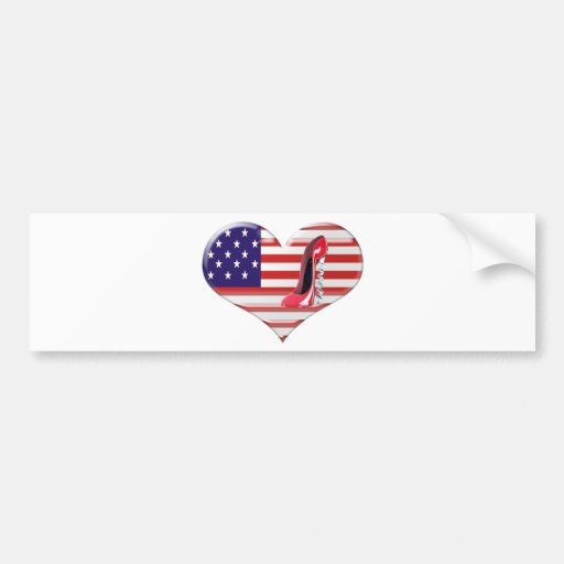 USA Heart Flag and Corkscrew Stiletto Shoe Bumper Stickers