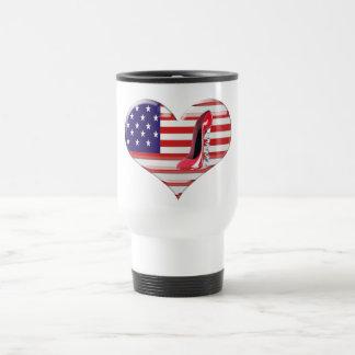 USA Heart Flag and Corkscrew Stiletto Shoe Mug
