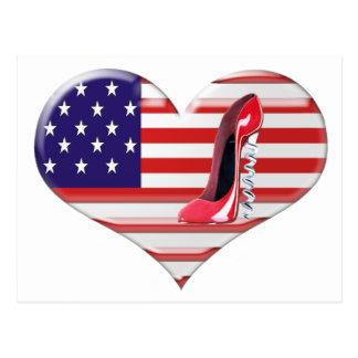 USA Heart Flag and Corkscrew Stiletto Shoe Postcard
