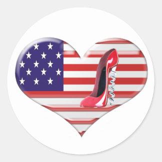 USA Heart Flag and Corkscrew Stiletto Shoe Round Sticker