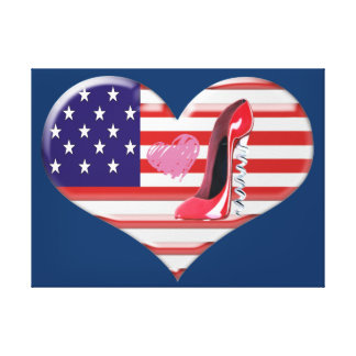 USA Heart Flag and Stiletto Stretched Canvas Print