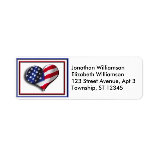USA Heart Flag Return Address Labels