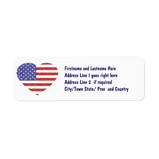 USA Heart Flag Stars & Stripes in Crayon Style Return Address Label