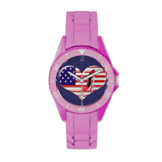USA Heart Flag, Stiletto and Kiss Watch