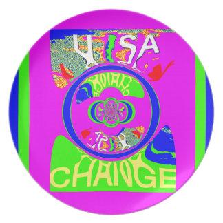 USA Hillary Change Monogram  Art design Dinner Plate