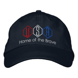 USA Home of the Brave Embroidered Hat