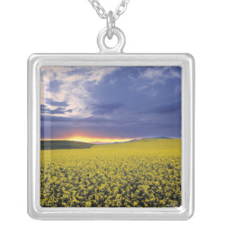 USA, Idaho, Swan Valley. A fiery sunset erupts Square Pendant Necklace
